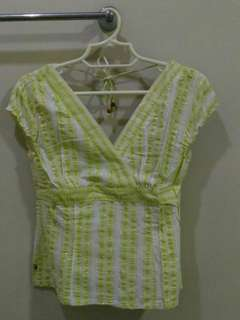 Repriced!!! Space Deep V Green Stripes Blouse