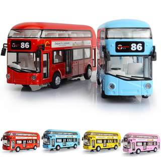 Alloy London Double-decker Bus Lights And Music Door Design Children's Toys
