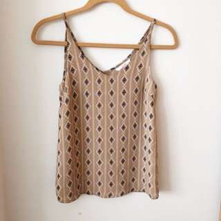 Supre Tribal Strappy Top in Camel Colour