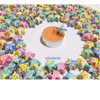 """L#P0807a. Lot of 500pcs Hand-folded """"Smiley Print"""" Origami Lucky Stars In Assorted Colors. (XT paper series)."""