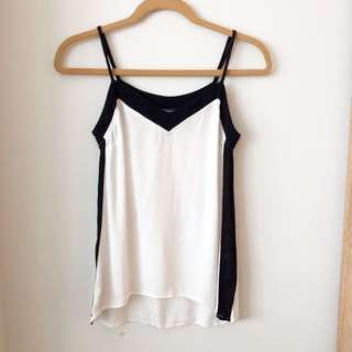 White and black strappy tank