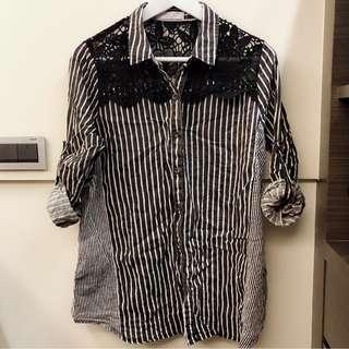🚚 正韓 簍空雕花條紋襯衫
