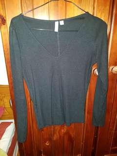Asos black shirt top long sleeve size 6