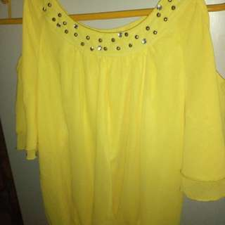 Selling yellow off shoulder blouse