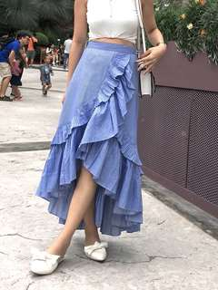 Doublewoot dikager inspired pleated fishtail wrapped skirt