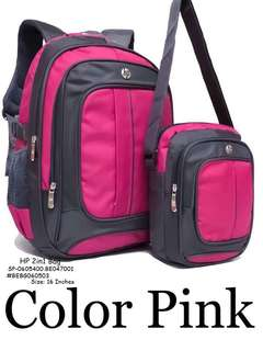HP 2IN1 BAG 4 Compartments With Laptop Case Inside SIZE : Backpack : 16 inch SlingBag : 8 inch  Price : 750