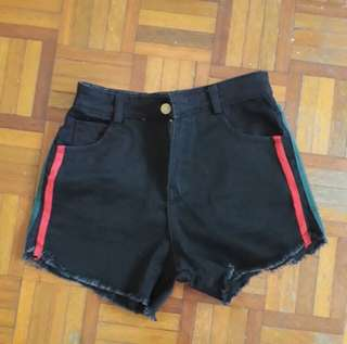 GUCCI Inspired Black Ripped Denim Shorts