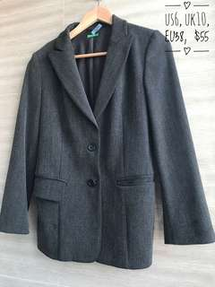 Dark Grey Blazer by Benetton - wool pin stripe