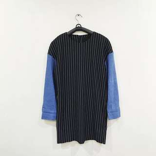 Contrast Stripes Dress with Denim Sleeves