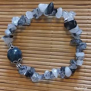 黑髮晶配瑪瑙手鏈