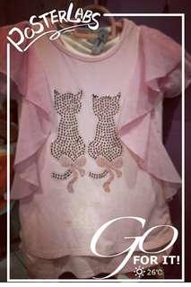 Girl Top (Cat design)-Pink