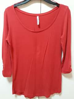 Red semi long sleeves blouse