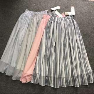 日本Lugnoncure 包郵25-37腰 半截直條 間條 長裙 GB924610