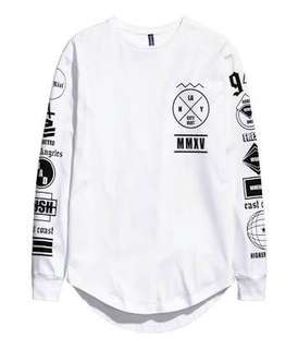 H & M MMXV City Riot White long sleeve abstract logot-shirt