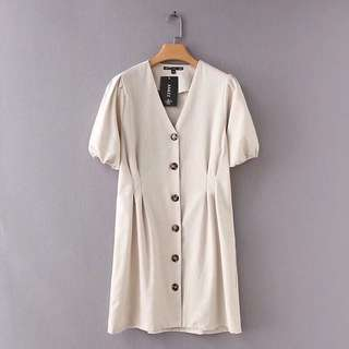 Summer vintage linen buttoned down dress