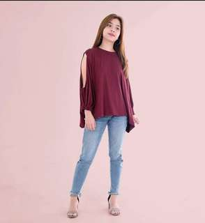 HTP Maroon Korean Cutout Top