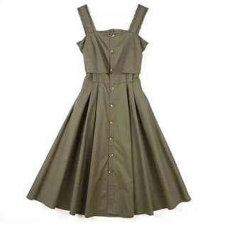Moss Green Button Down Dress