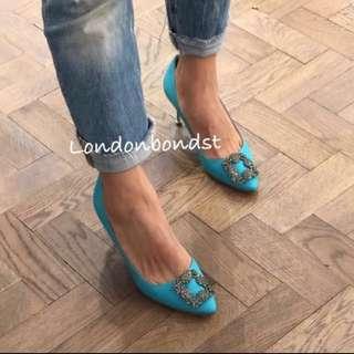 慾望城市經典美鞋 土耳其藍麻料面+灰鑽 7cm