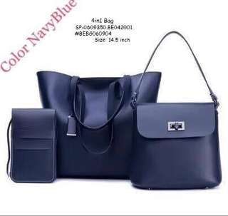 4IN1 BAG  With Pouch Inside (as shown in the picture ) SIZE : 14.5 inch  Price : 650