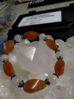 瑪瑙加粉晶欖型水晶手串$90