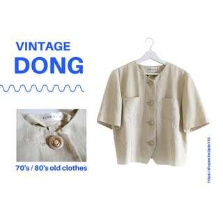 🚚 | 咚 咚 Vintage |日本古著-緩緩木亞麻白短袖上衣