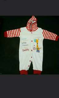 (Free📮Mail)New Baby Jumpsuit With Hooded Giraffe (White Red Stripes) 1pcs