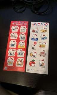 日本通用郵票。Hello Kitty特別版 右邊一張10個