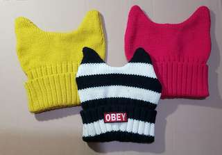 3pcs Knitted Beanie Hat wih Horns/Ear Design