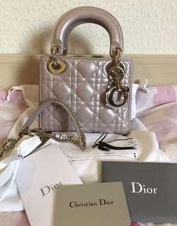 限量💕Dior Lady Dior mini珠光粉