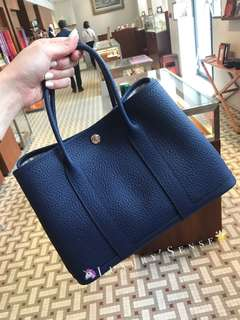 ✨剛6月買入! 🦄Hermes✨💎Garden Party 30 Bleu Saphir 73 寶石藍 Vache Country皮 C年 $26800