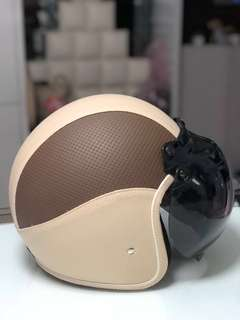 Leather Retro Helmet With Bubble Visor