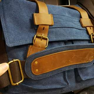 CLEARANCE SALE + FREE SHIPPING! Top Grain Leather Canvas Messenger Bag - blue