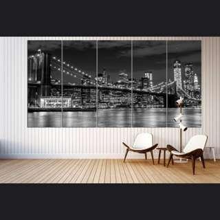 5 Panels New York Brooklyn Bridge Canvas Posters 40x100cm