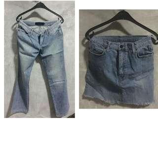 MURAH!! SALE!! 2 Bawahan: 1 Celana Jeans GIORDANO ASLI dan 1 Rok tanpa merk