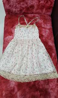 White Floral Dress with cream lace