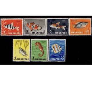 Singapore stamps 1962 fishes MNH fresh gum 7v