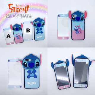 Stitch Character Case with Tempered iPhone 5 5s se 6 6s Plus 6+ 6s+ 7 8 7+ 8+ X Samsung J7 Prime Plus Vivo V5 V5s V7 V7+ Oppo F3 F1s F5 Huawei Nova 2i