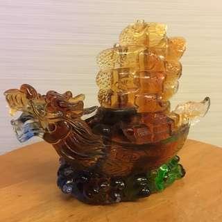 (Offer) Liuli Dragon Boat - 琉璃一帆风顺龙船摆件