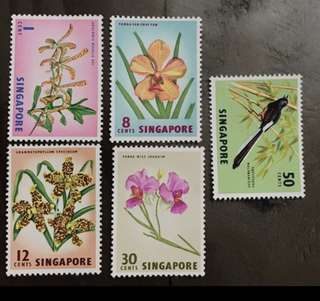 Singapore stamps 1962 flowers and bird 5v unmounted mint