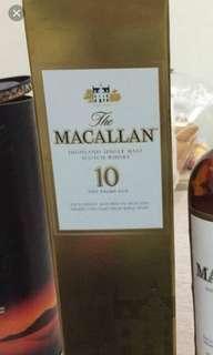 Macallan 10年威士忌700ml box, 每個
