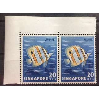 "Singapore Stamps 1962 20c fish pair error ""nick in fin"" MNH"