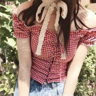 INSTOCKS Gingham lace up off shoulder frill ruffle top (RED)