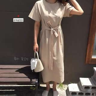 Summer Korean round neck front and rear bandwidth loose solid short-sleeved dress