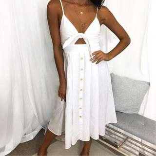 INSTOCKS Wendy bow tie button down midi dress - off white