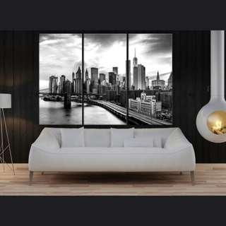 New York  Landscape Black White HD Print 50x100CM