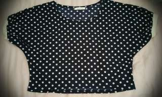 SALE! Navy blue & white polka dots cropped top
