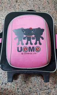 🚚 UnMe粉紅色拖行書包