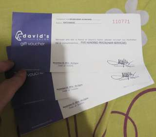 David's Salon vouchers worth php1500