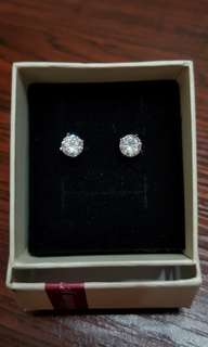 純銀八箭八心水晶耳環 Silver Earrings 100%New