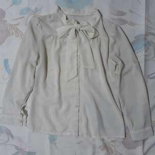 Ribbon-front Long-Sleeved Sheer Top